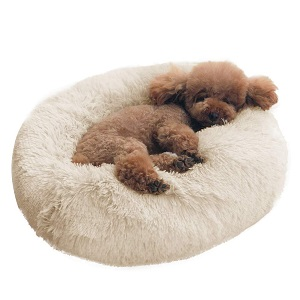 BinetGo Dog Bed Cushion Faux Fur Donut Cuddler