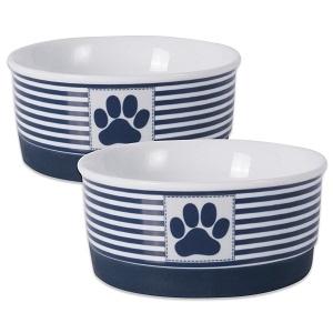 Bone Dry DII Paw Patch & Stripes Ceramic Pet Bowl